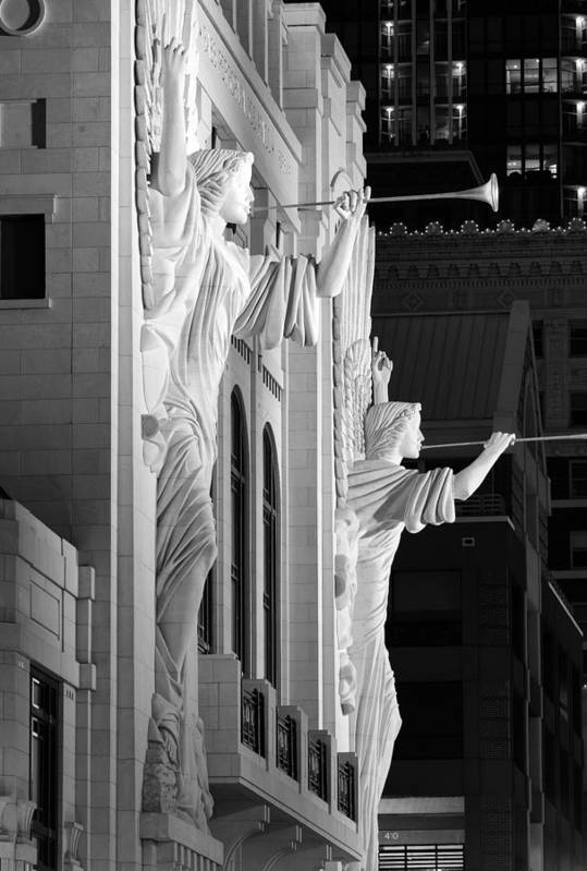 Bass Hall Art Print featuring the photograph Bass Hall Fort Worth 520 Bw by Rospotte Photography