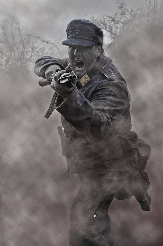Soldier Art Print featuring the photograph Bayonet Warrior by Mark H Roberts