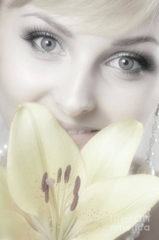 Beauty Art Print featuring the photograph Beautiful Young Woman With A Yellow Lily by Oleksiy Maksymenko