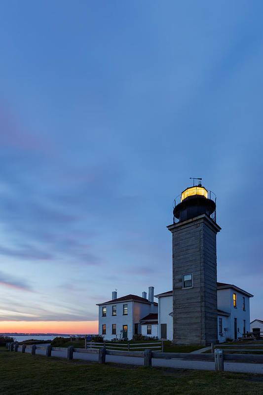 Jamestown Art Print featuring the photograph Beavertail Lighthouse by Bryan Bzdula