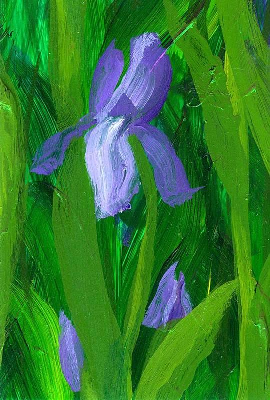 Iris Art Print featuring the painting Beginning Of Spring by Wanda Pepin