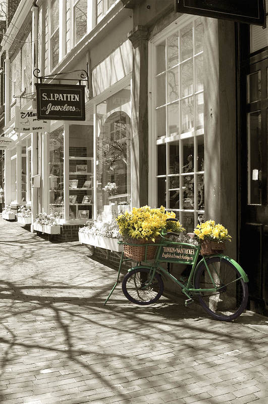 Floral Art Print featuring the photograph Bicycle With Flowers - Nantucket by Henry Krauzyk