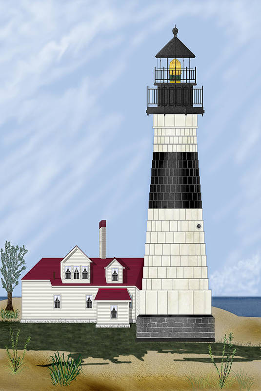Big Sable Michigan Lighthouse Art Print featuring the painting Big Sable Michigan by Anne Norskog