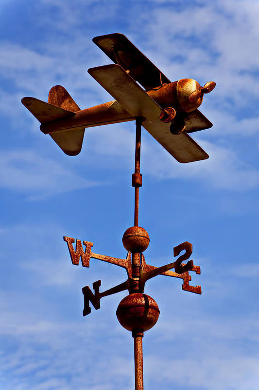 Biplane Weather Vane Art Print featuring the photograph Biplane Weather Vane by Garry Gay