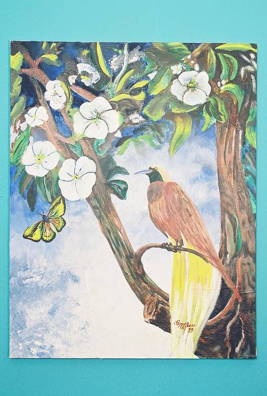 Bird Art Print featuring the painting Bird Of Paradise by Christopher Miles