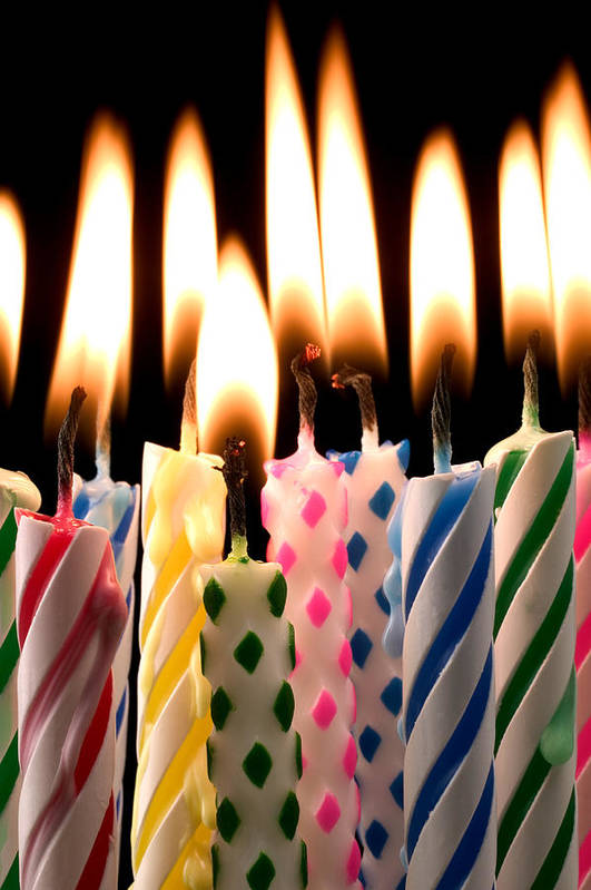 Flame Art Print featuring the photograph Birthday Candles by Garry Gay