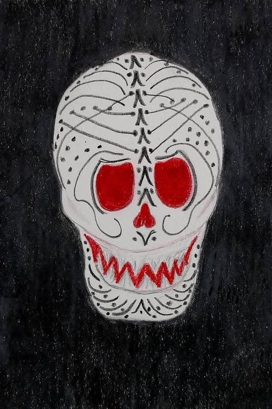 Skull Art Print featuring the mixed media Black And Red by Charla Van Vlack