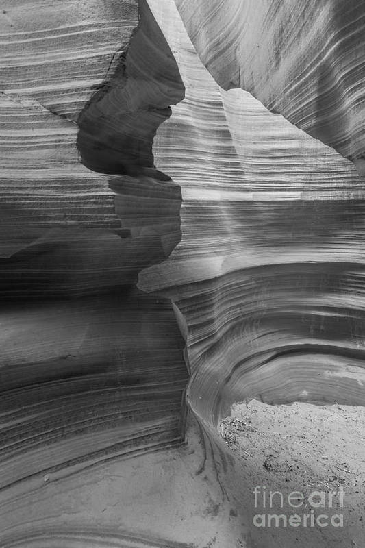 Antelope Canyon Art Print featuring the photograph Black And White Sandstone Art by Ben Adkison