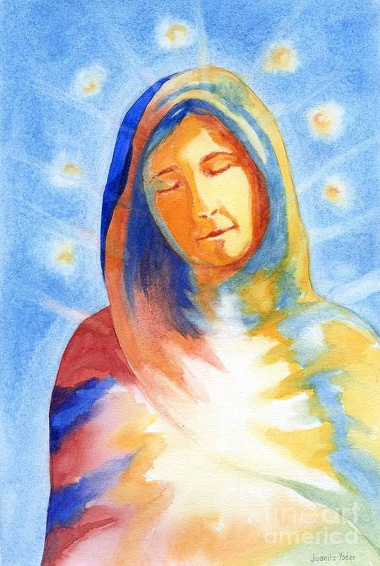 Divine Art Print featuring the mixed media Blessed Mother by Juanita Yoder