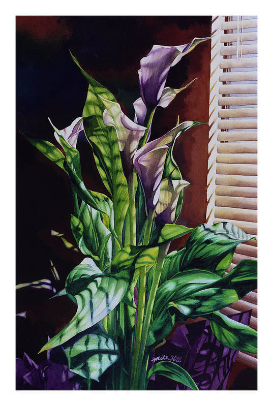Lilies Flowers Reflected Light Shadows Rust Purple Art Print featuring the painting Blind Luck Lilies by Mike Hill