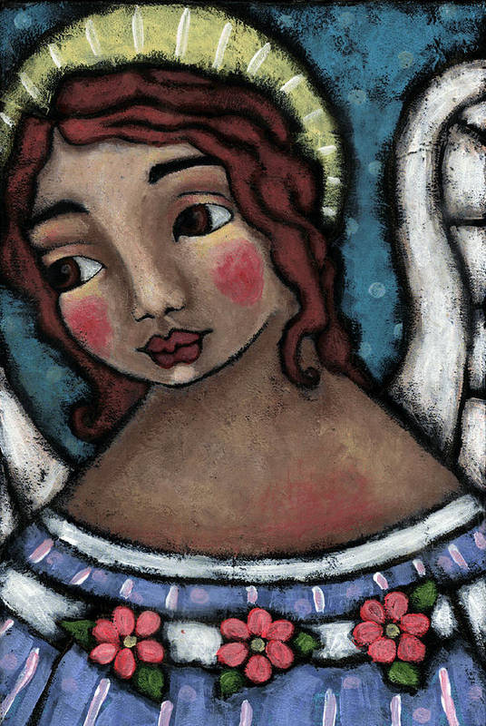 Angel Print featuring the painting Blue Angel With Golden Halo by Julie-ann Bowden