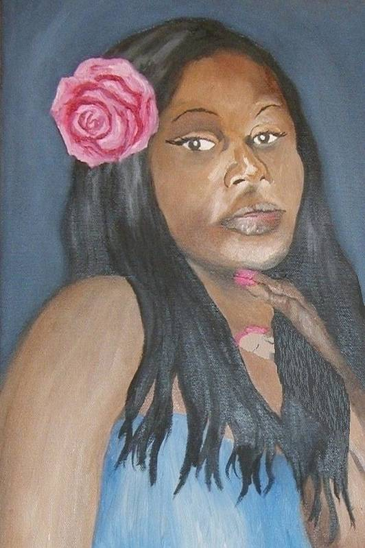 African American Art Print featuring the painting Blue Diva by Angelo Thomas