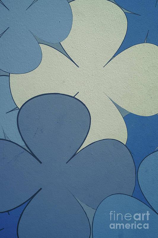 Blue Art Print featuring the digital art Blue Flowers by Benjamin Harte