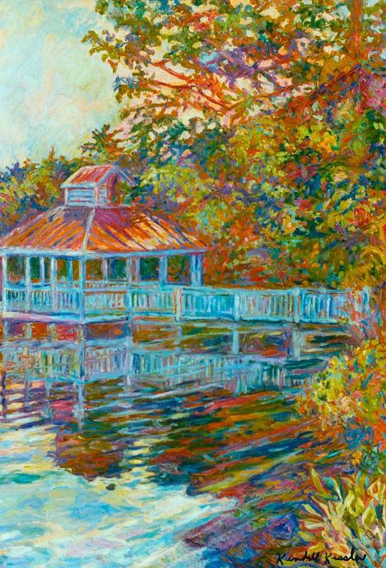 Mountain Lake Art Print featuring the painting Boathouse At Mountain Lake by Kendall Kessler