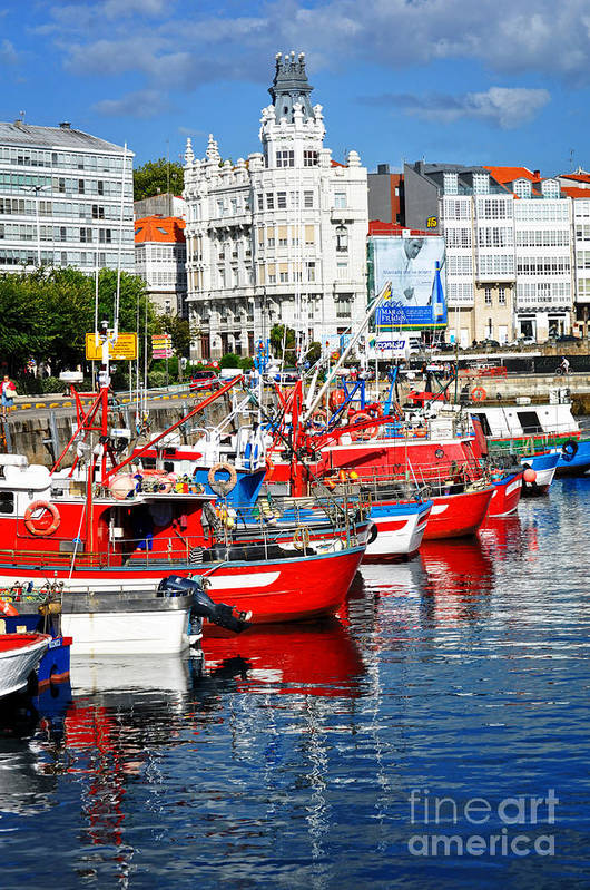 Fishing Boats Art Print featuring the photograph Boats In The Harbor - La Coruna by Mary Machare