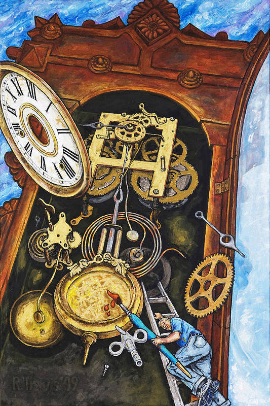 Clock Art Print featuring the painting Boing by Rich Travis