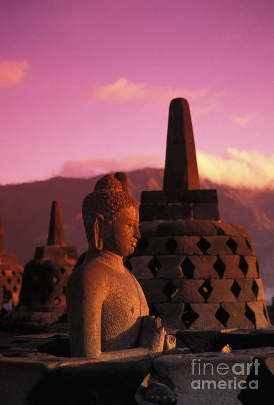 Ancient Art Print featuring the photograph Borobudor Temple by Gloria & Richard Maschmeyer - Printscapes