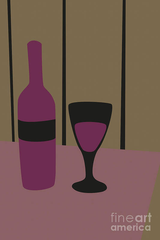Wine Art Print featuring the digital art Bottle And Glass Of Wine by Benjamin Harte