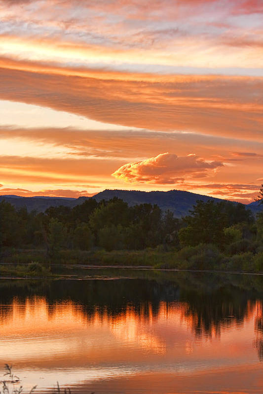 nature Photography Art Print featuring the photograph Boulder County Lake Sunset Vertical Image 06.26.2010 by James BO Insogna