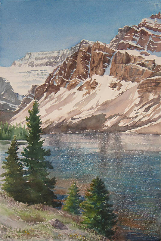 Bow Lake Art Print featuring the painting Bow Lake Alberta by Debbie Homewood