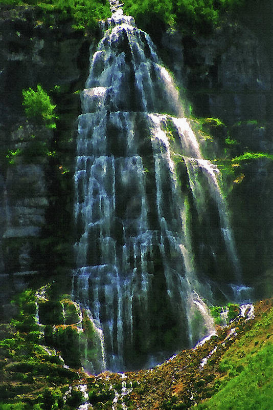 Water Art Print featuring the photograph Bridal Veil Falls Canvas 2 by Steve Ohlsen