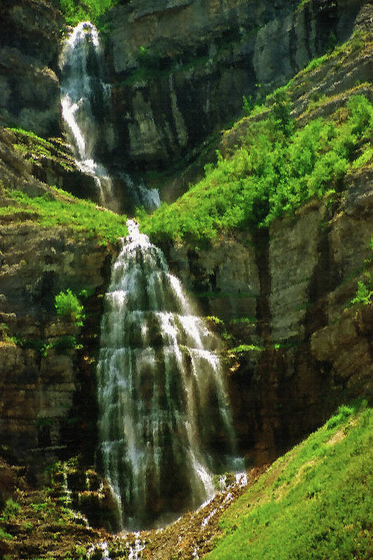 Falls; Fall; Waterfall; Nature; Natural; Water; Falling Water; Cascading Water; Cascading; Falling; Cascading Falls; Cascading Waterfall; Cool; Fresh; Pure; Clean; Rejuvenating; Refreshing; Tranquil; Peaceful; Calming; Quiet; Meditative; Mountainous; Mountains; Summer; Summertime; Scenic; Scenery; Landscape; Rock; Rocky; Canyon Wall; Cliff; Canyon; Provo Canyon; Utah; Bridal Veil Falls; Environmental; Environment; Resource; Earths Resources; Digital Art; Textured; Painterly; Canvas; Artistic Art Print featuring the photograph Bridal Veil Falls Canvas 3 by Steve Ohlsen