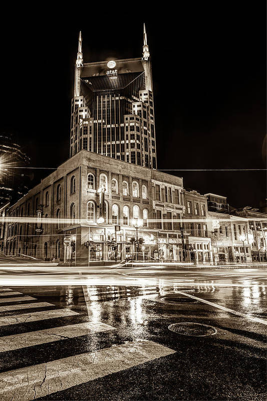 Nashville Skyline Art Print featuring the photograph Broadway Lights - Nashville Tennessee Skyline Sepia by Gregory Ballos