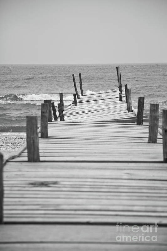 Black And White Art Print featuring the photograph Broken Pier by Gabriela Insuratelu