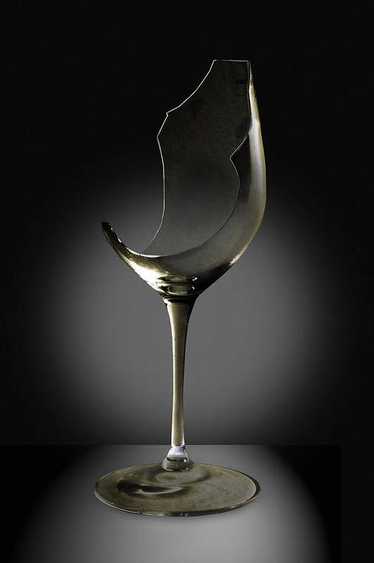 Glassware Art Print featuring the photograph Broken Wine Glass by Yuri Lev