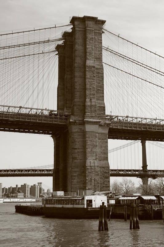 Brooklyn Bridge Art Print featuring the photograph Brooklyn Bridge River Cafe by Christopher Kirby
