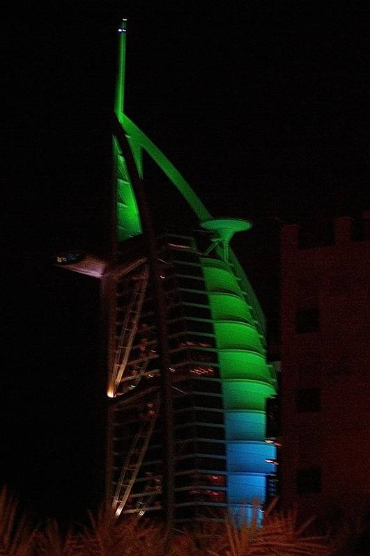 Burj Dubai Emirates Middle East Hotel 7star Night Art Print featuring the photograph Burj Al Arab Dubai Night by Iain MacVinish