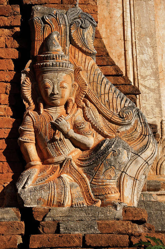 Asia Art Print featuring the photograph Burmese Pagoda Sculpture by Michele Burgess
