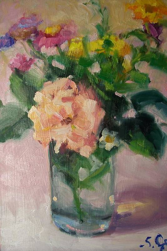 Painting Art Print featuring the painting Cambria Flowers by Susan Jenkins