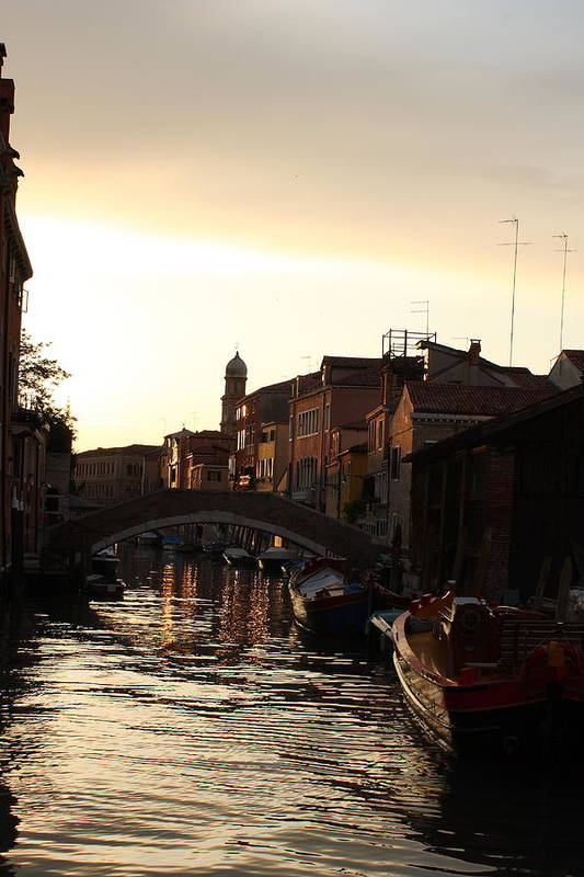 Venice Art Print featuring the photograph Canal In Venice At Sunset by Michael Henderson