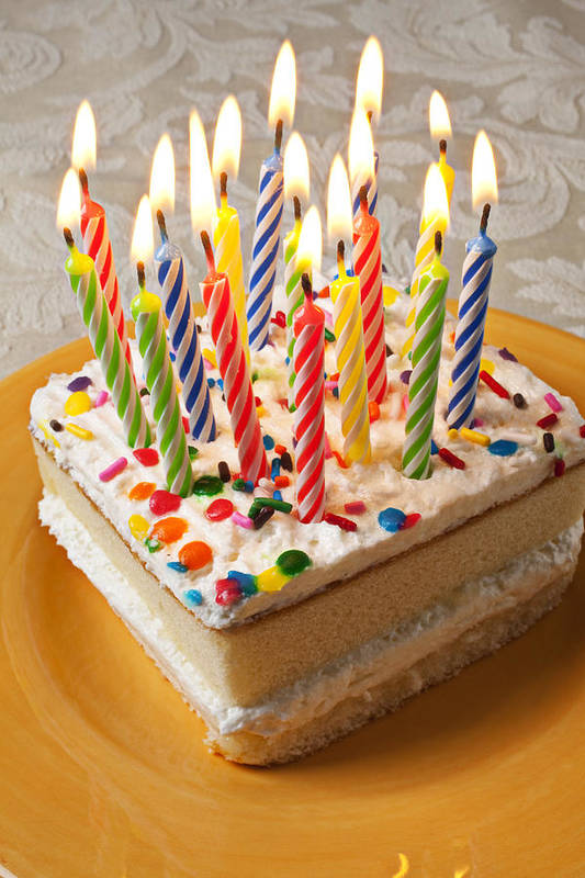Flame Art Print featuring the photograph Candles On Birthday Cake by Garry Gay