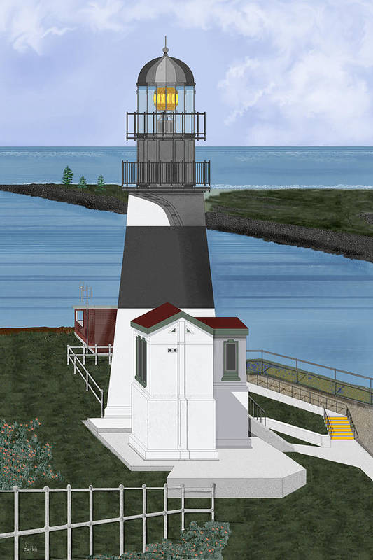 Lighthouse Art Print featuring the painting Cape Disappointment At Fort Canby Washington by Anne Norskog