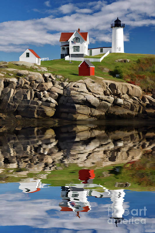 Painting Art Print featuring the photograph Cape Neddick Reflection - D003756a by Daniel Dempster
