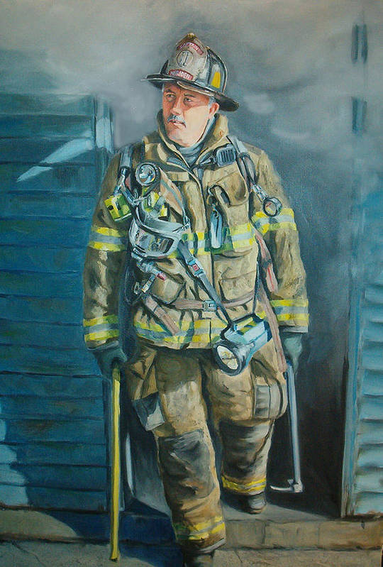 Firefighter Art Print featuring the painting Captain Harris by Paul Walsh