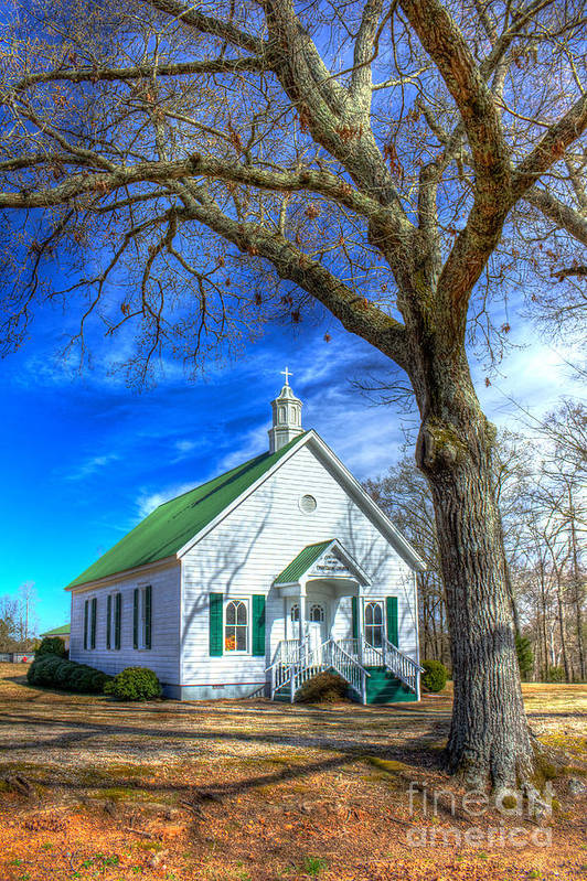 Reid Callaway Centennial Christian Church Art Print featuring the photograph Centennial Christian Church Rural Greene County Georgia by Reid Callaway