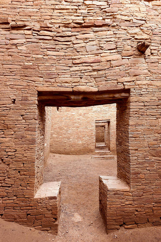 Pueblo Bonito Art Print featuring the photograph Chaco Canyon Doorways 2 by Carl Amoth