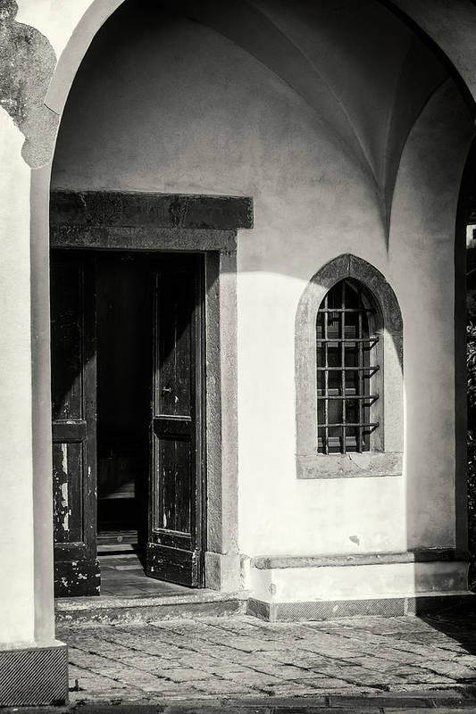 Joan Carroll Art Print featuring the photograph Chapel In Riomaggiore Cinque Terre Italy Bw by Joan Carroll