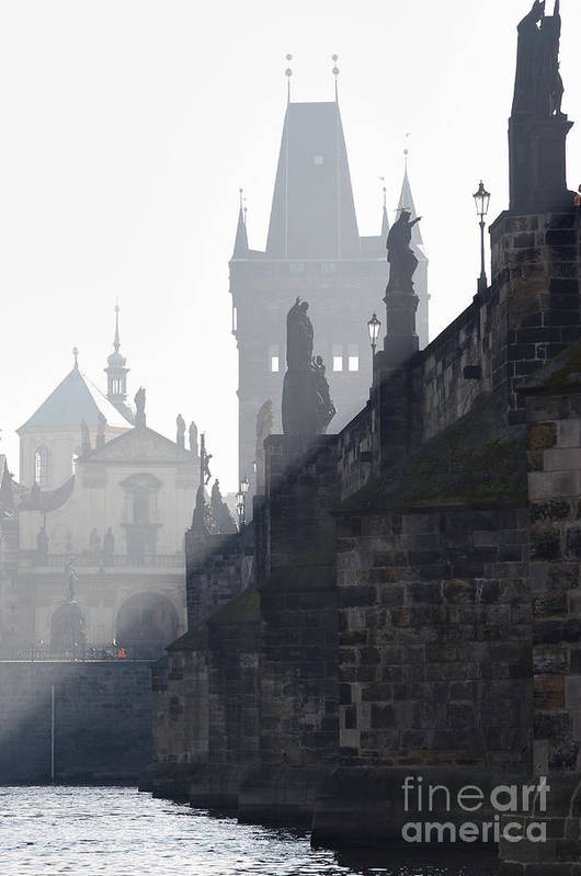 Bridge Art Print featuring the photograph Charles Bridge In The Early Morning Fog by Michal Boubin