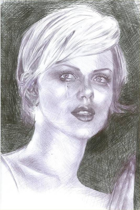 Charlize Theron Art Print featuring the drawing Charlize Theron by Reza Naqvi