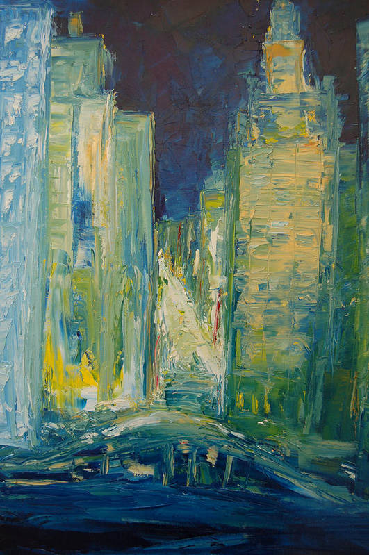 Konkol Art Print featuring the painting Chicago Lights by Lisa Konkol