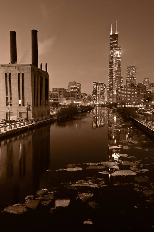 Chicago Art Print featuring the photograph Chicago River B And W by Steve Gadomski