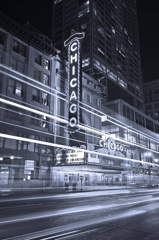 Chicago Art Print featuring the photograph Chicago Theater Marquee B And W by Steve Gadomski