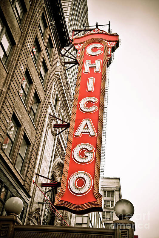 Chicago Print featuring the photograph Chicago Theater Sign Marquee by Paul Velgos