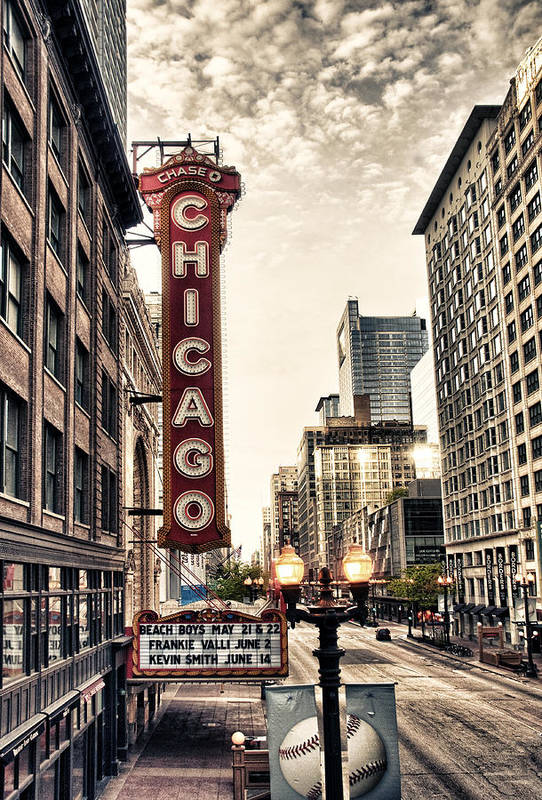 Chicago Art Print featuring the photograph Chicago Theater by Tammy Wetzel