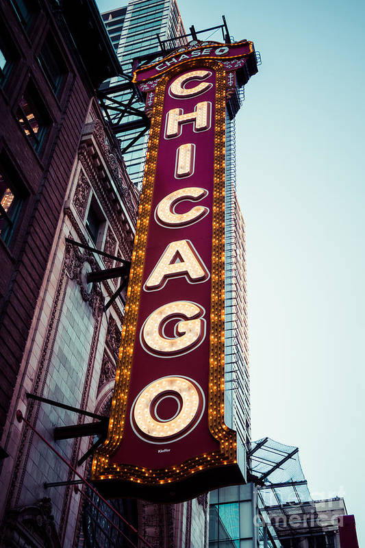 America Art Print featuring the photograph Chicago Theatre Marquee Sign Vintage by Paul Velgos
