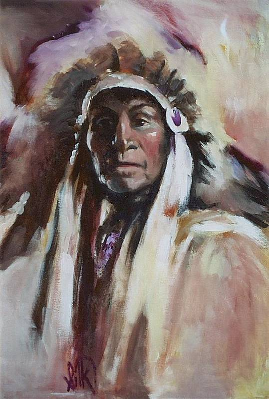 Native American Art Print featuring the painting Chief 1 by Elizabeth Silk